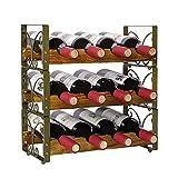 X-cosrack rústico apilable para 12 botellas de vino, 3 niveles, soporte organizador de vino independiente, estante de almacenamiento de licor,