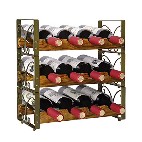 X-cosrack Rustic Stackable 12 Bottle Wine Rack 3 Tier...