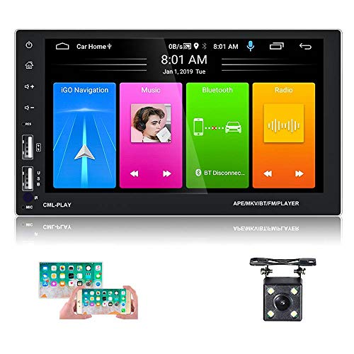 Hikity 9.1 Android 7 Inch Double Din Car Stereo 1080 Touchscreen Radio Bluetooth FM Receiver Support GPS Navigation, WiFi Connection, Steering Wheel Control, Mirror Link, DVR Input + Backup Camera