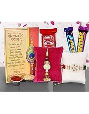 Sataanreaper Presentsset Van 2 Rakhi Voor Brother Met Gift Set Chocolade, Wenskaart, Roli, Chawal, Chandan, Misri Combo (Rakhi124-Choco 3)#SR-0101