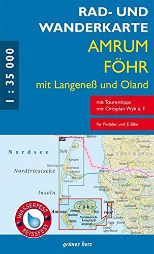 Rad- und Wanderkarte Amrum, Föhr mit Langeneß und Oland