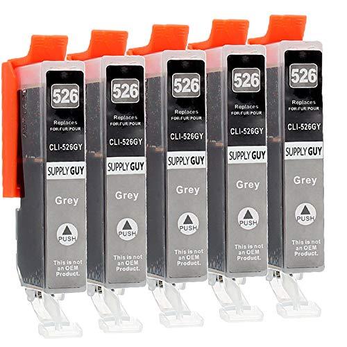 Supply Guy 5 Druckerpatronen mit Chip kompatibel mit Canon CLI-526 (Grau) passend für Canon Pixma MG-6150 MG-6250 MG-8150 MG-8240 MG-8250