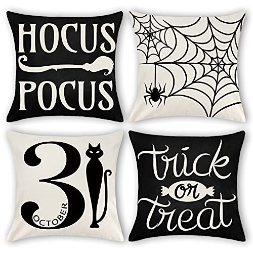 Bunny Chorus Halloween Decoration 18x18 Throw Pillow Cover Set of 4, Black Cat Spide Web Hocus Pocus Home Decorative Cushion Covers for Office Couch Sofa Bed