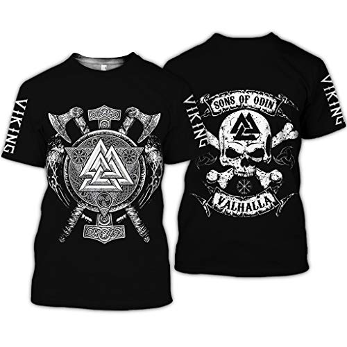 BBYOUTH Wikinger T-Shirt, 3D Bedruckter Nordischer Mythos Thor Hammer Fenrir Wolf Tattoo Kurzarm Cosplay Shirt (11 USA Größe),Sons of Odin,L