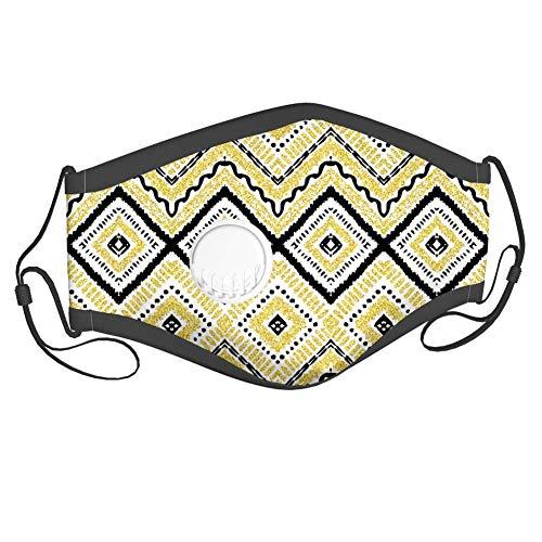 Stoff für Erwachsene und Kinder, Native Tribal Motiv mit Rhombus Pattern Dots und Chevron Waves Print, Mundschutz, 6 Filter