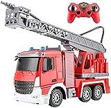 Liiokiy Voiture de contrôle à distance 2.4g électrique Rc Camion de pompiers à distance du véhicule de course,camion de pulvérisation d'eau à 6 canaux avec pistolet à eau rétractable,Rc Camion de mons