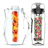 Frybin Fruit Infuser Water Bottle and Pitcher SET | Includes infuser rod and Ice Core Rod | Made of Durable TRITAN Plastic | BPA Free | Cleaning brush