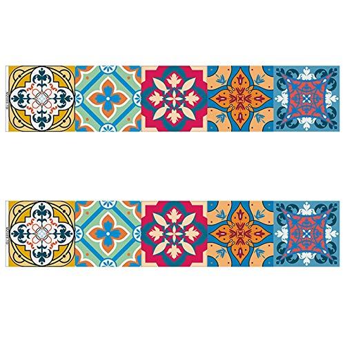 Azulejos pegatinas, Pegatinas de azulejos retro de tira larga, papel tapiz decorativo para cocina y baño, etiquetas engomadas impermeables de la pared, renovación para el hogar pegatinas de pared y em