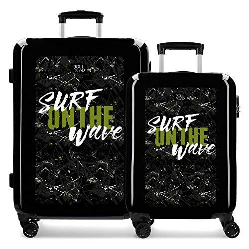 Roll Road California Juego de maletas Negro 55/68 cms Rígida ABS Cierre combinación 100.5L 4 ruedas dobles Equipaje de Mano