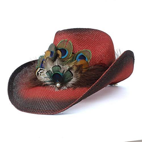 SSHZJUS Gentleman Cap TFashion Hueco Occidental del Sombrero de Vaquero Señora de la Playa Verano Pluma Sombrero Sombrero de Paja Sombrero de Paja (Color : Rojo, Size : 56-58)