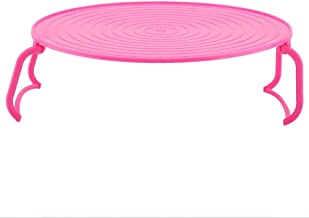 Horno de microondas multifuncional de plástico que calienta el estante de cocción al vapor en capas Estante de la bandeja de cocción(rojo)