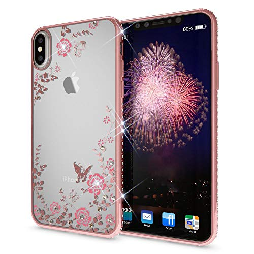 NALIA Hülle kompatibel mit iPhone X XS, Durchsichtiges Slim Silikon Case mit Blumen-Muster, Metall-Optik Glitzer-Steine Dünne Schutzhülle Cover, Bling Handy-Hülle Bumper Strass Etui, Farbe:Rosa