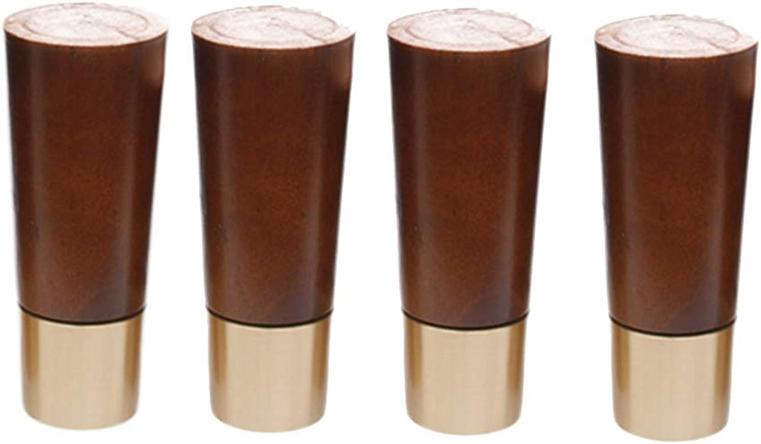 Brass Wood Furniture Feet Solid Wood Sofa Legs with Copper Sleeves, Coffee Table Bedside Table Heightening Feet