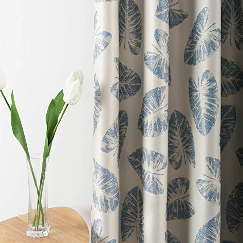 Leeva Thermal Insulated Heavy Curtains for Dining Room, Vintage Leaves Room Darkening Blackout Curtain and Drapes for Bedroom, 52x84, 2 Panels