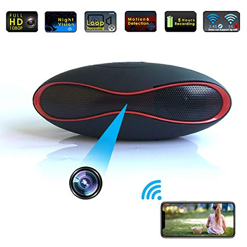 Hidden Camera WiFi Bluetooth Speker, 4K Video WirelessStereo Music Player Spy Hidden Cameras Covert Nanny Cam for Office/Outside Home Surveillance Night Vision Motion Detection 2020 Upgraded