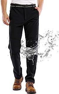 Jessie Kidden Men's Outdoor Windproof Waterproof Hiking Mountain Ski Pants, Soft Shell Fleece Lined Trousers #5088