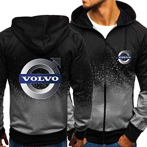 Herren Hoodie Für Volvo 3D Print Mit Kapuze Sweatshirt Beiläufige Sportjacke Langarm Voller Reißverschluss Atmungsaktiver Mantel - Geburtstagsgeschenk Black-XX-Large