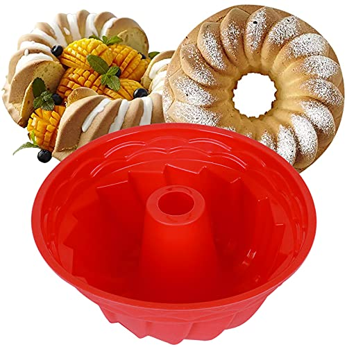 Silicone Round Bread Fluted Cake Pan Set of 2,Non-stick 9 Inch Fluted Tube Cake Baking Kitchen Pan,Fluted Round Bread Pan for Jello,Gelatin,Chiffon Cake,Pound Cake