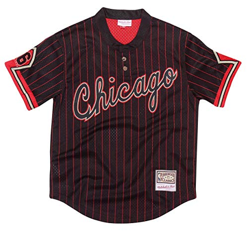 Mitchell & Ness Chicago Bulls Men's 6 Rings Black Pinstriped Baseball Jersey (Medium)
