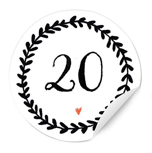24 Adventskalenderzahlen für den selbstgemachten Adventskalender zum Basteln mit selbstklebende Etiketten MATT, 24 Zahlen zum Beschriften, Nummerieren, 40 mm, Ranken Design, Schwarz auf Weiß