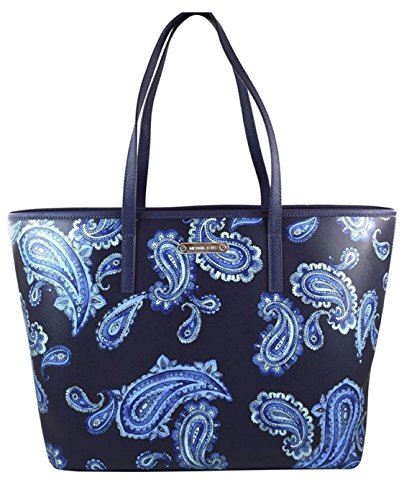 MICHAEL Michael Kors Emry Admiral Blue Paisley Saffiano Leather Large Tote