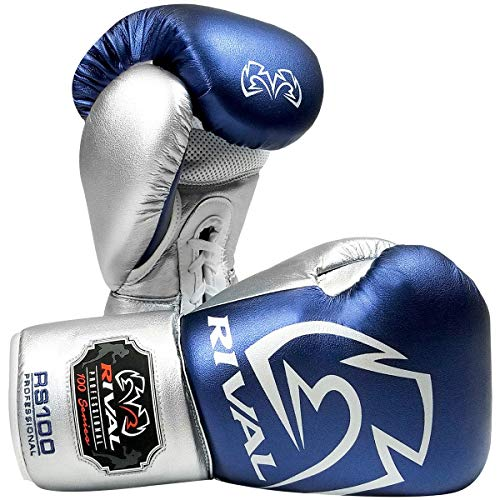RIVAL Boxing RS100 Pro Sparring Boxing Gloves - 18 oz. - Blue/Silver