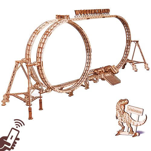 Wood Trick Roller Coaster 3D Wooden Puzzles for Adults and Kids to Build - Remote Control - 38 x 16.5 in - Dinosaurs Theme - Mechanical Wooden Model Kits for Adults and Kids - Electric Driven