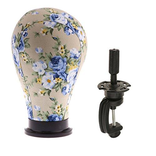 joyMerit Modelo de Cabeza de Maniquí de Bloque de Corcho de Lona de Flores Vintage con Abrazadera de para Peluquería de Salón Fabricación de Peluquines FA - # 2, Individual