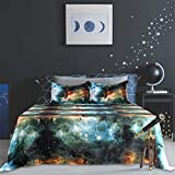 PiccoCasa Galaxy Bed Sheet Set,4 Piece Soft Polyester Microfiber Bedding Set,Including 3D Space Star Theme Bed Sheet & Fitted Sheet with 2 Pillowcases Green Queen