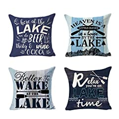 Set of 4 Set of 4 Relax You Are On lake Time Better Wake At The Lake Made of 100% grade cotton linen natural material Size: 18X18 inches / 45 cm x 45 cm ,Since the manual measurement there may be 1-2 cm error. Hidden zipper design, Safe to machine wa...