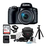 Canon PowerShot SX70 HS 65x Optical Zoom Digital Camera Bundle with 64GB Memory Card, Camera Case, Battery and Charger, Tripod and Accessory Bundle