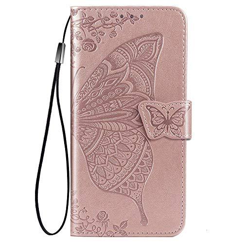 Wuzixi Funda para Meizu 18. Ranuras para Tarjetas, PU Cuero Flip Folio Carcasa, con Soporte Plegable Apto para Meizu 18 Smartphone.Oro Rosa