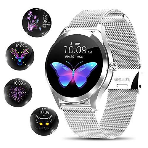 Yocuby Reloj Inteligente Mujer, Reloj Inteligente Bluetooth Fitness Tracker con IP68 Impermeable/Herramienta de período Femenino/SMS Llamada NOTIFICACIÓN/Monitor de Ritmo cardíaco del sueño(Plata)