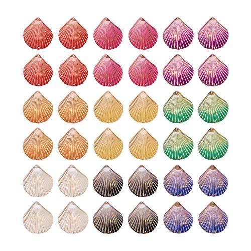 Cheriswelry 72 unids coloridos de acrílico vieira enlaces conectores planos en forma de abanico con cuentas de encaje dorado para joyas, collares, manualidades, 35 x 32 mm