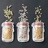 Lovejoy Store Wiederverwendbare Silikon-Aufbewahrungstaschen für Lebensmittel, ungiftig, Mason Flasche, Form Kekse, Nuss, Gefrierschrank, Selbstklebende Beutel, Aufbewahrungsbehälter 3pcs...