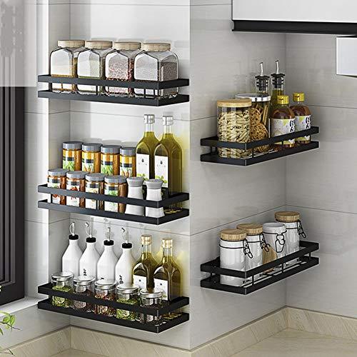 YunNasi Organizador de Especias Cocina Una Unidad Estantería Baño de Pared Adhesivo para Botes de Especiero, (Negro mate, 50cm)