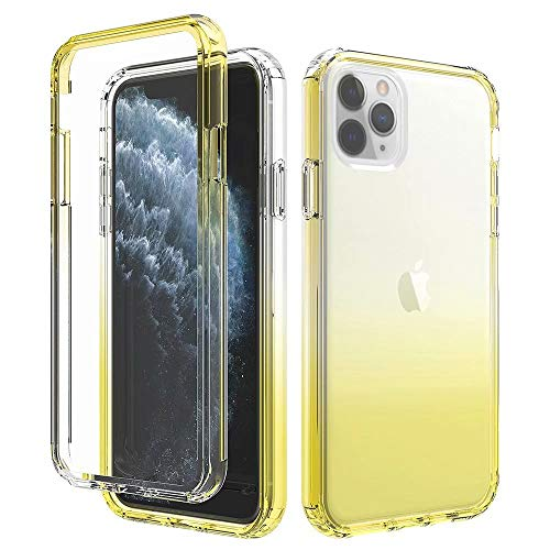 iPhone 11 Pro Max Case Protective,Anynve Crystal Clear Gradient Hybrid Shockproof Protective Case with Double Bumper Compatible for Apple iPhone 11 Pro Max 6.5 inch 2019, Yellow