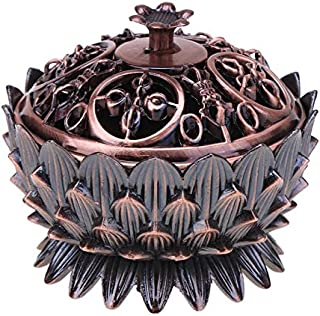 Kangsanli Golden Color Collectable Tibetan Lotus Incense Burner Chinese Figure Bronze Censer GD 3 Colors 7 cm Height Craft Home Decor (Red Copper)