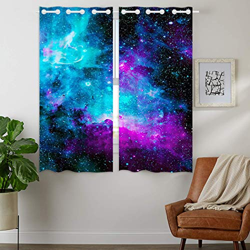 HommomH 28 x 48 inch Curtains (2 Panel) Grommet Top Darkening Blackout Room Nebula Galaxy Blue