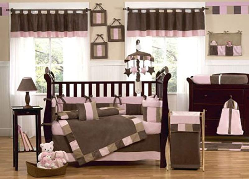 Modern Micro Fiber Pink Brown Soft And Cute 12 Pieces Crib Bedding Set Baby Girl