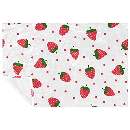 EZIOLY Manta acogedora con patrón de fresa roja, cubierta para las piernas, súper esponjosa, suave y cálida, de microfibra para cama, sofá, al aire libre, viajes, picnic, camping (59 x 39 pulgadas)