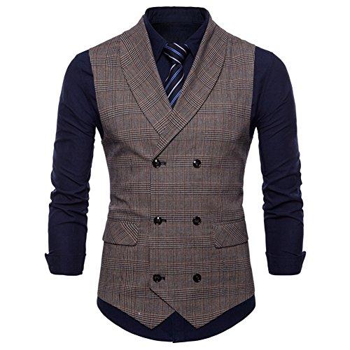 GWELL Herren Anzugweste English Style Kariert Slim Fit Business Basic Casual Weste Zweireiher Braun XL