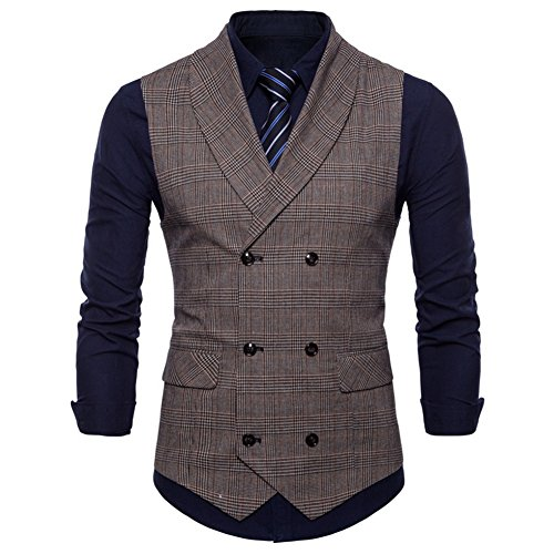 GWELL Herren Anzugweste English Style Kariert Slim Fit Business Basic Casual Weste Zweireiher Braun XXL