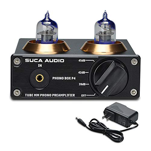 SUCA-AUDIO Phono Preamp for Turntable MM Phonograph Stereo Audio Tube Preamplifier with Mini Hi-Fi Stereo, Gain Adjustable Function & DC 12V Power Adapter, Suitable for Record Player
