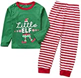 Dannel Baby Toddler Little Boys Girls Casual Pajamas Set Long Sleeve T-Shirt Tops Stripe Pants Outfits Kids Family Matching,Green,4-5T