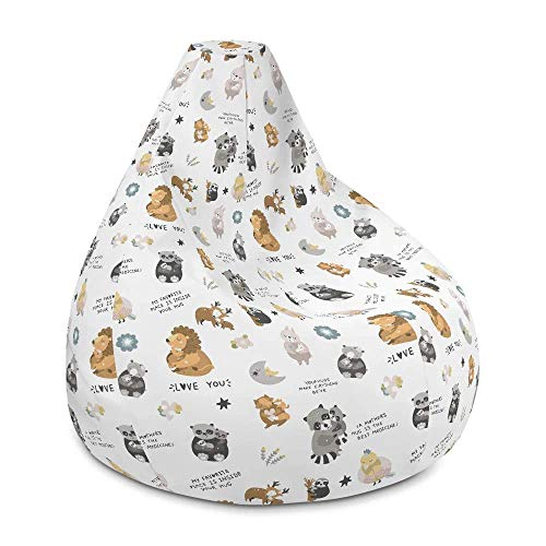 BeauLiv Hugging Animals White Bean Bag Chair with Filling