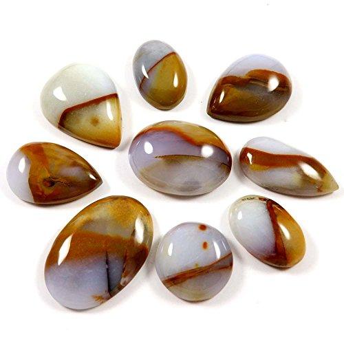 Gems&JewelsHub 194 quilates de piedras preciosas naturales lunares ágata mezcla cabujón suelto, 10 unidades lote al por mayor