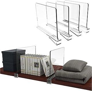GUAN Lot de 6 séparateurs de penderie en acrylique transparent pour chambre à coucher, vêtements de cuisine, serviettes et...