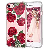 iPhone 8 Case, iPhone 7 Case, MOSNOVO Red Roses Blossom Flower Floral Clear Design Printed Plastic Back Case with TPU Bumper Protective Case Cover for Apple iPhone 7 / iPhone 8