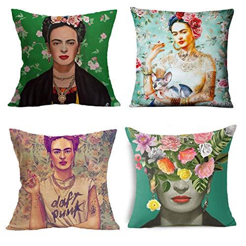 Cekell Adecuado para Frida Kahlo Funda de almohada 4 piezas de sofá Pad, manga de almohada de algodón sublarm, cubierta de asiento de automóvil, 17.7 x17.7 (45x45cm)